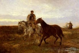 Leading The Horses Home At Sunset