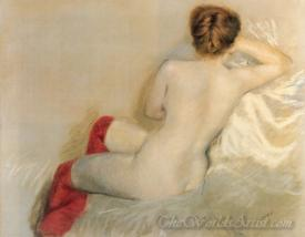 Female Nude With Red Stockings