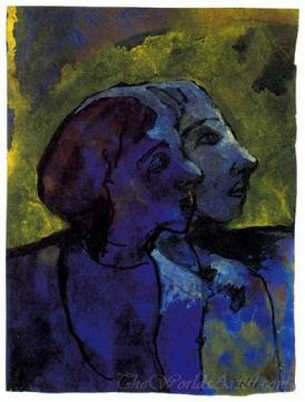 Blue Couple In Profile In Sidelight
