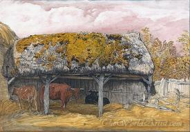A Cow Lodge With A Mossy Roof