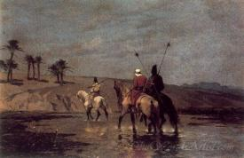 Arabic Riders Crossing A River