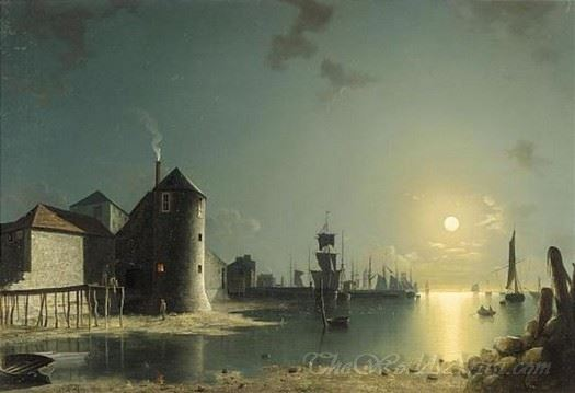 A View Of Southampton Harbour By Moonlight
