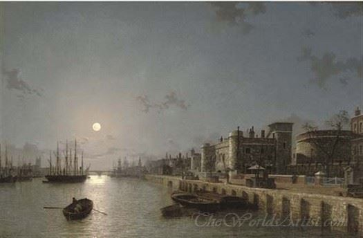 View Of The Thames By Moonlight Towards London Bridge