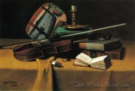 Violin Fan And Books