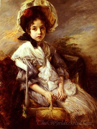 Portrait Of A Girl Seated In A Landscape