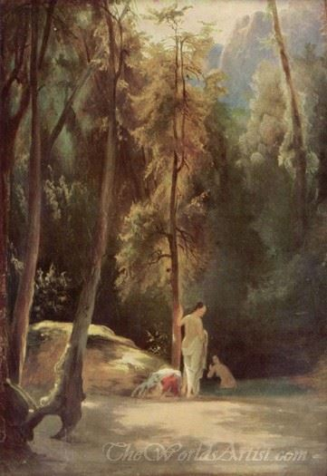 Bathers In The Park Of Terni Bathing Women In The Woods