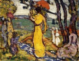A Lady In Yellow In The Park