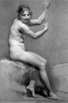 Female Nude Holding On To A Staff