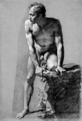 Male Nude Leaning On A Rock