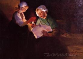 Two Breton Girls Reading