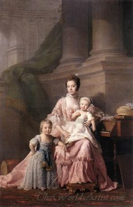 Queen Charlotte With Her Two Children