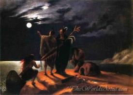 Indians Experiencing A Lunar Eclipse