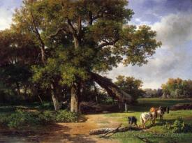 A Wooded Landscape With Farmers Gathering Wood