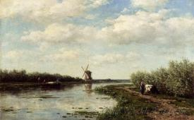 Figures On A Country Road Along A Waterway A Windmill In The Distance