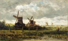 Landscape With Windmills And Two Figures