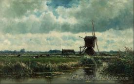 Polder Landscape With Windmill Near Abcoude