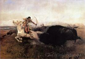 Indians Hunting Buffalo