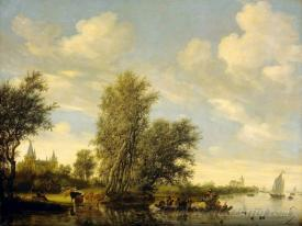 River Scene With Ferry