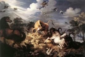 Horses And Oxen Attacked By Wolves