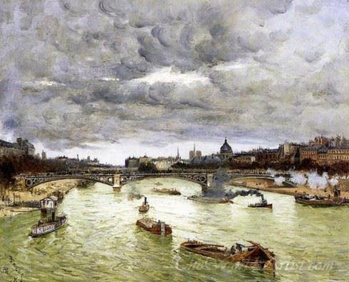 The Seine At Paris With The Pont Du Carousel