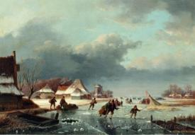 Figures Skating On A Frozen River