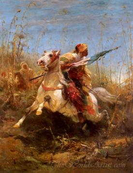 Arab Warrior Leading A Charge