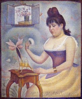 Young Woman Powdering Herself