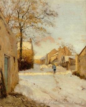 A Village Street In Winter