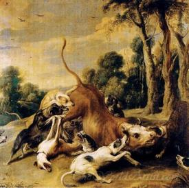 Bull Surrendered By Dogs
