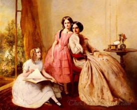 A Portrait Of Two Girls With Their Governess