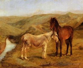 A Horse And Donkey In A Hilly Landscape
