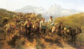 Muleteers Crossing The Pyrenees