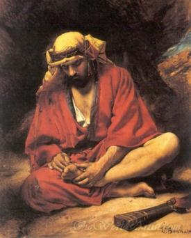 An Arab Removing A Thorn From His Foot