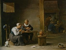 A Man And Woman Smoking A Pipe