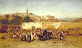 Market Day Outside The Walls Of Tangiers Morocco