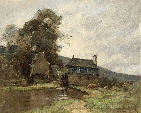 Cowherd By A Mill