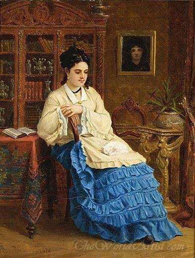 Femme En Robe Bleue Revant  (Woman In Blue Dress Dreaming)