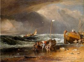 A Coast Scene With Fishermen Hauling A Boat Ashore The Iveagh Sea