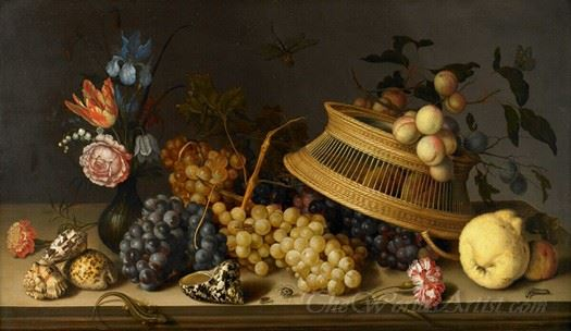 Still Life Of Flowers Fruit Shells And Insects