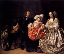 Pieter Van De Venne With Anna De Carpentier And Child