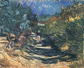 A Road At Saint Remy With Female Figure