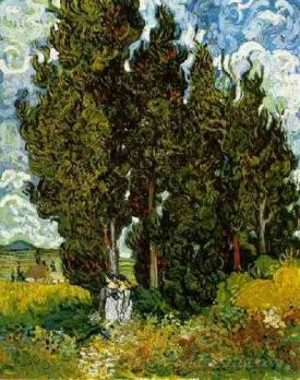 Cypresses And Two Women  (Cypress And Figures)