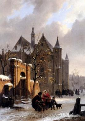View With Figures Leaving A Church In Winter