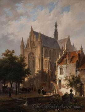 Het Uitgaan Van De Kerk In Leiden  (Congregation Leaving The Church In Leiden)
