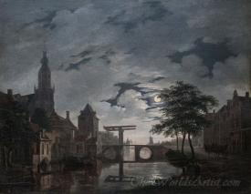 Dutch Town By Moonlight