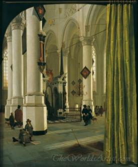 The Interior Of The Nieuwe Kerk In Delft With The Tomb Of Prince William Of Orange