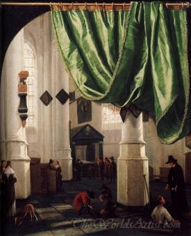 Interior Of The Oude Kerk Delft With The Tomb Of Piet Hein