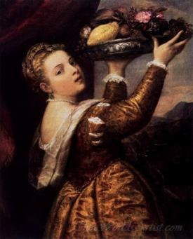 Girl With A Platter Of Fruit