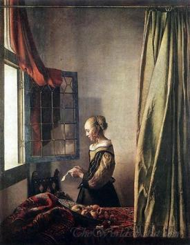 Girl Reading A Letter At An Open Window