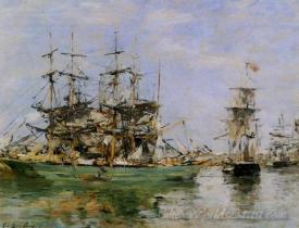 A Three Masted Ship In Port
